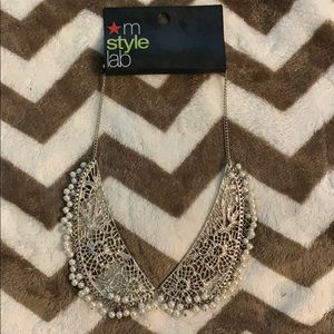 Silver with faux pearls necklace